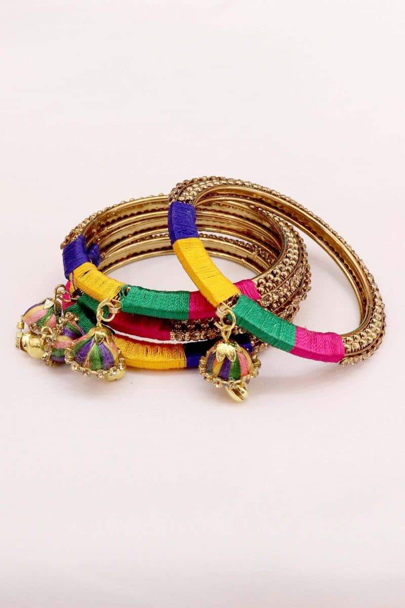 Stone Studded Fashionable Tassels bangle Set in Multi color