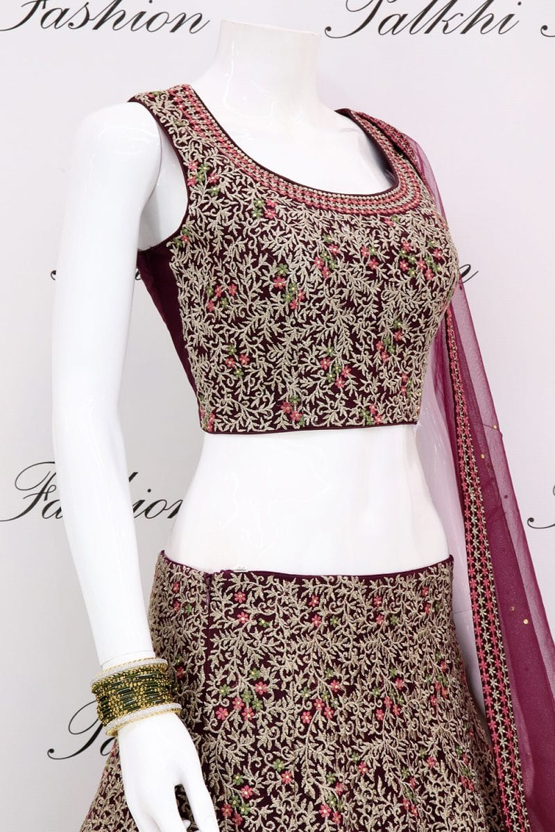 Designer Maroon Hand worked Lehenga Set From Palkhi Fashion