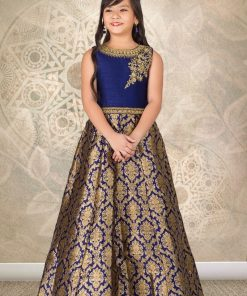 Appealing Blue Designer Gown With Handwork From Palkhi Fashion