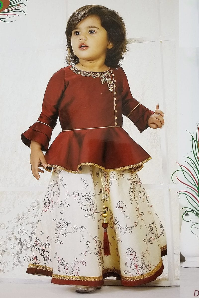 Maroon Palazzo/lehenga Designer Suit For Girls