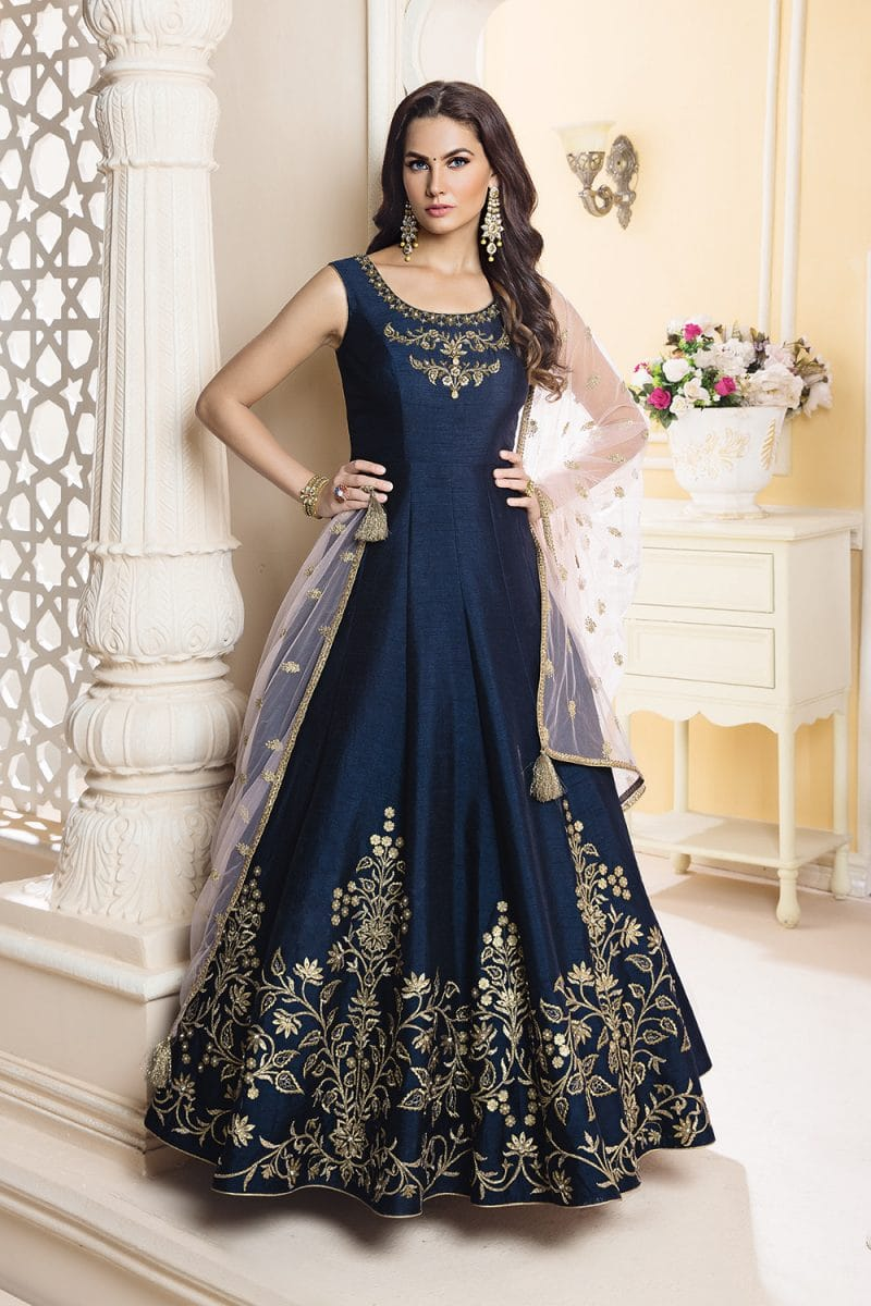Navy Blue Designer Outfit With Blush Pink Dupatta