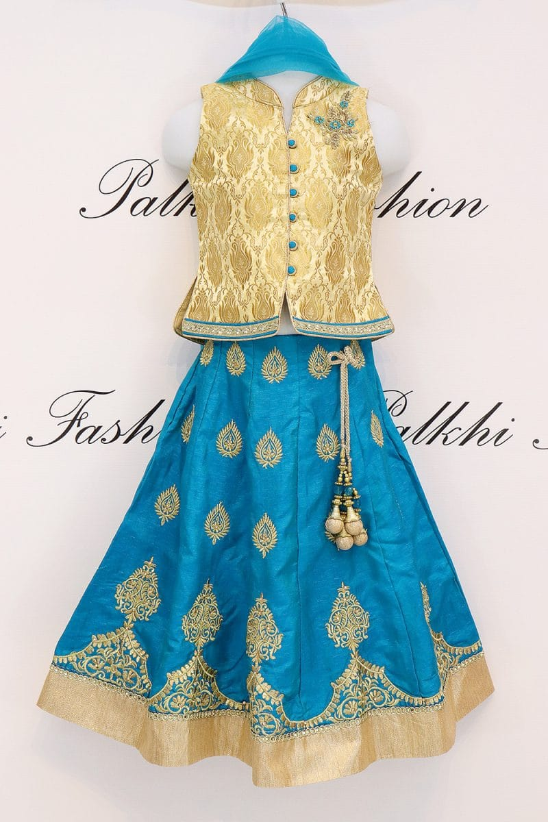 Elegant Teal Girls Silk Lehenga Set With Beautiful Design