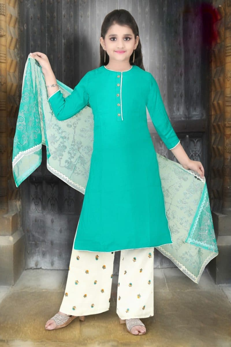Elegant Teal Pure Georgette Girls Salwar Kameez With Pant Style