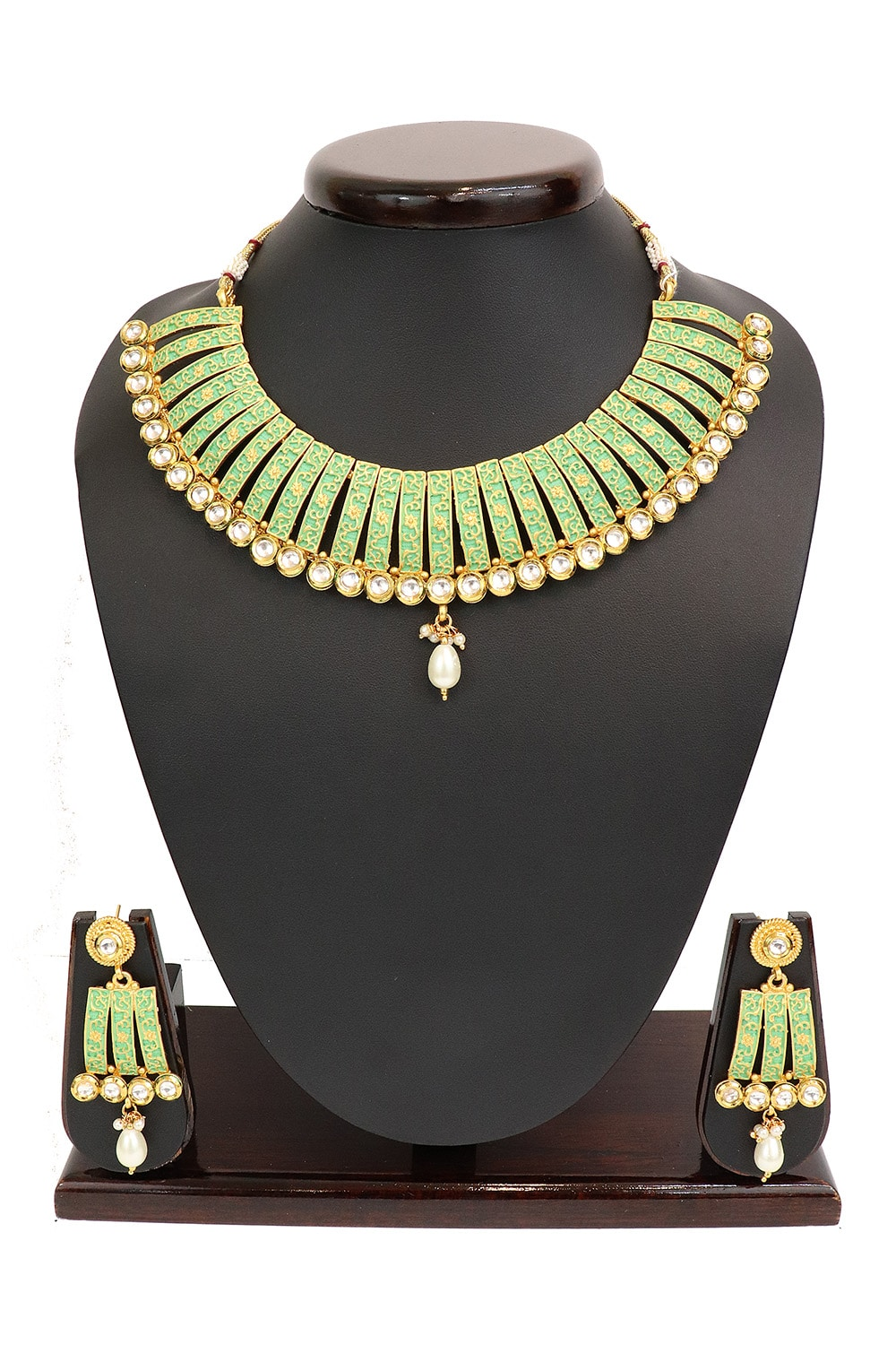 Enamel Filled Kundan studded Necklace Set PF-J120