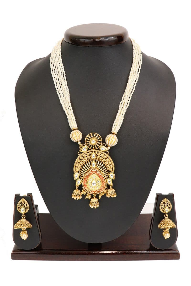 Enamel Filled Kundan studded Necklace Set PF-J144