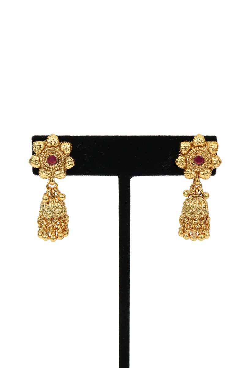 Pink Stone Studded Jhumka Style Earring With Gold Beads - E55