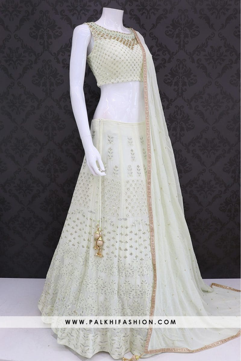 Designer Light Pista Colored Chiffon Hand worked Lehenga Set