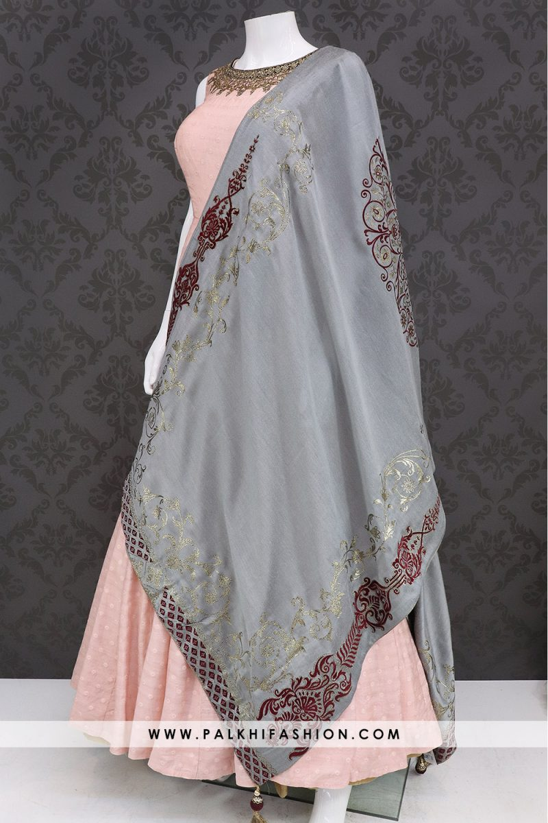 Gorgeous Light Peach Indian Outfit With Applique Work Dupatta