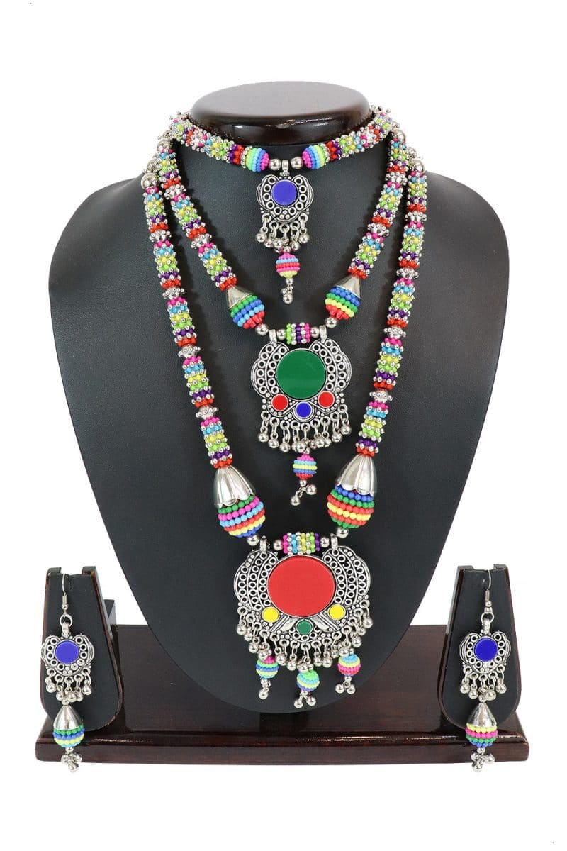 Oxidised Necklace Set With Matching Earring Set PF-J164
