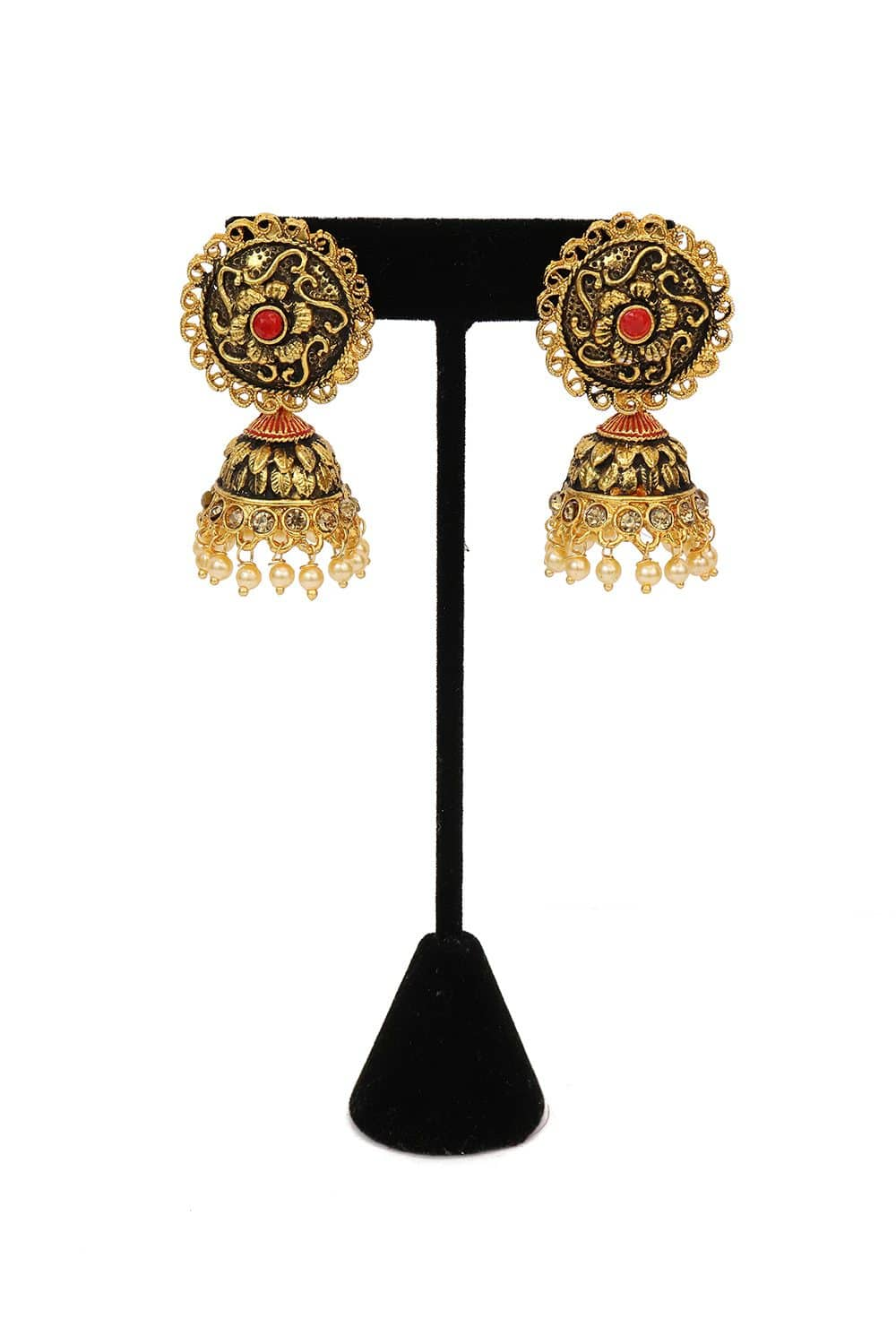 Red Stone Studded Jhumka Style Earring With Pearls - E63