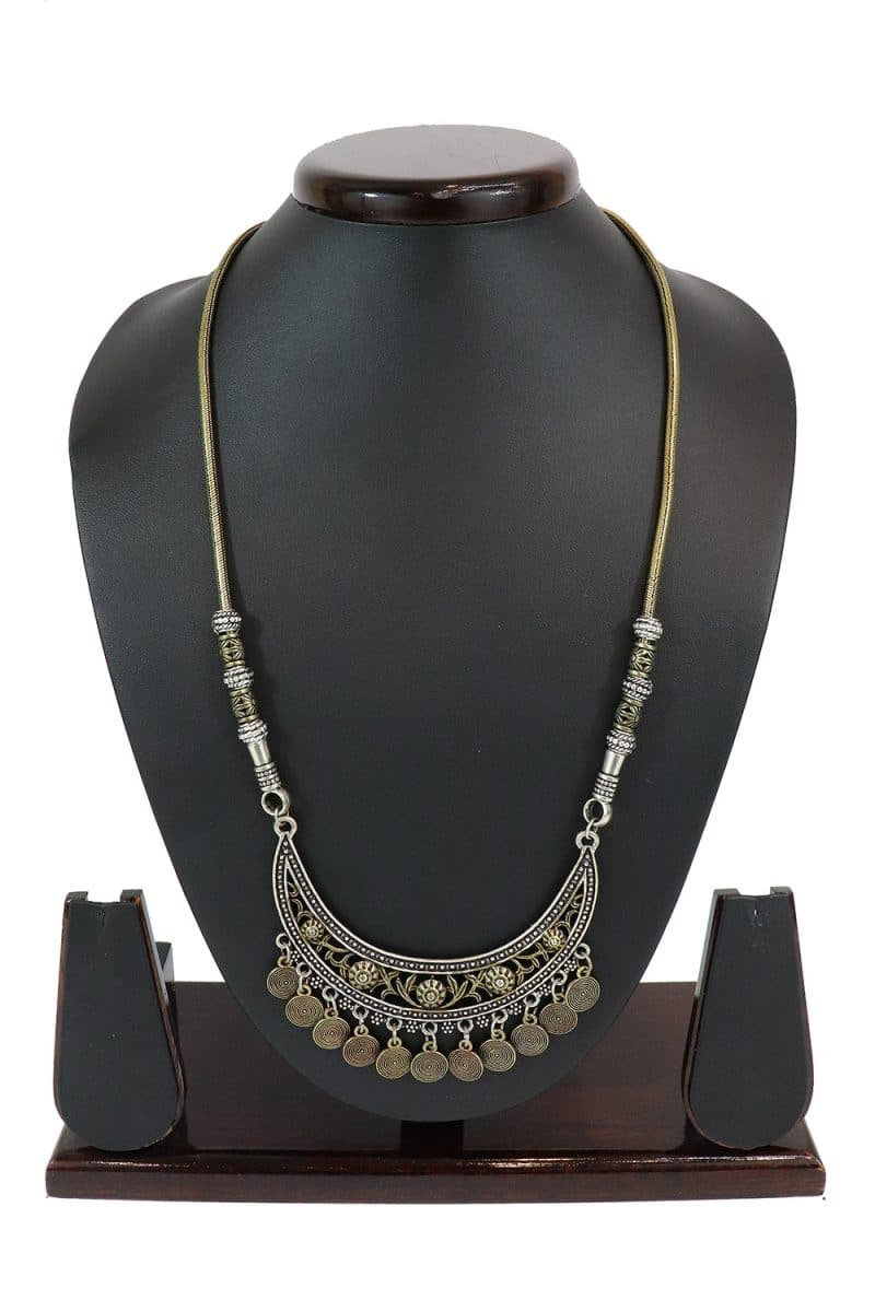 Oxidised Necklace In Silver & Dull Gold Tone PF-J181