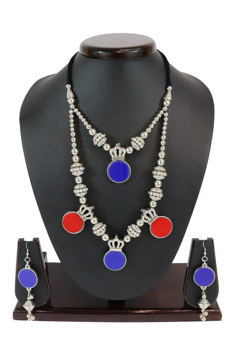 Oxidised Necklace Set With Matching Earring Set PF-J183