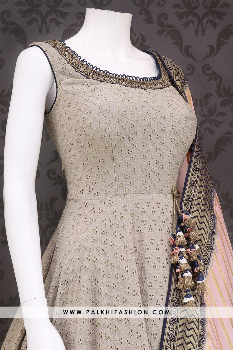 Stunning Light Grey Indian Designer Outfit With Lakhnavi Cutwork