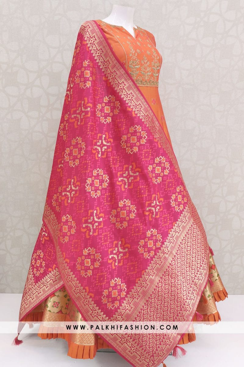Light orange designer pure silk indian outfit from palkhi fashion