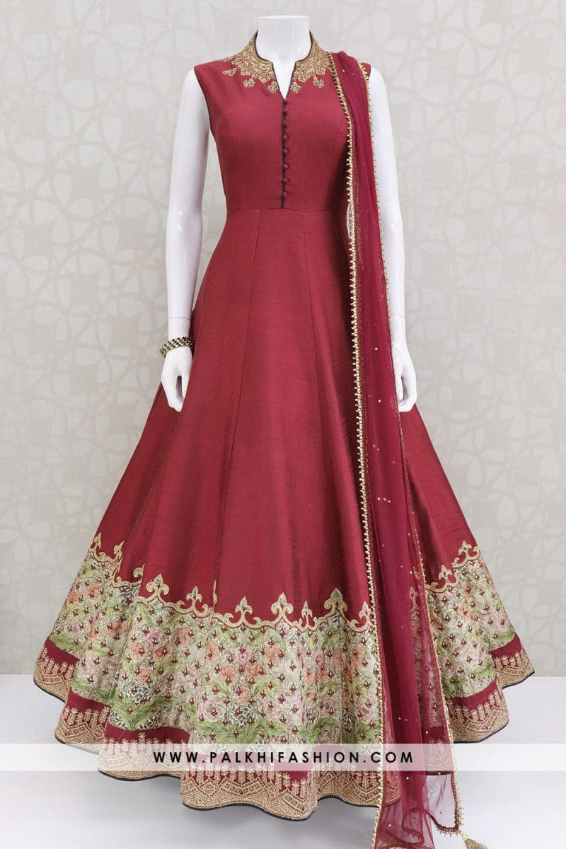 Maroon designer soft raw silk outfit with elegant prints,kundan,petite stone,resham embroidery,cutdana.net duppata with handcrafted border and stone work