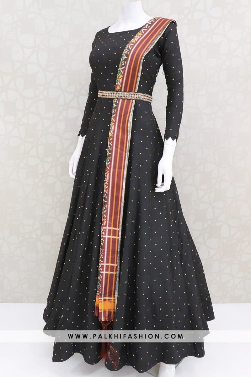 Black soft silk indian outfit from palkhi fashion with patola printed dupatta.Waist belt enriched with petite stone & embroidery work.New indian outfit collection from palkhi fashion.