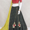 Georgette dark green designer lehenga choli from palkhi fashion with silk weaving,embroidery.Light red raw silk blouse & light mustard georgette dupatta