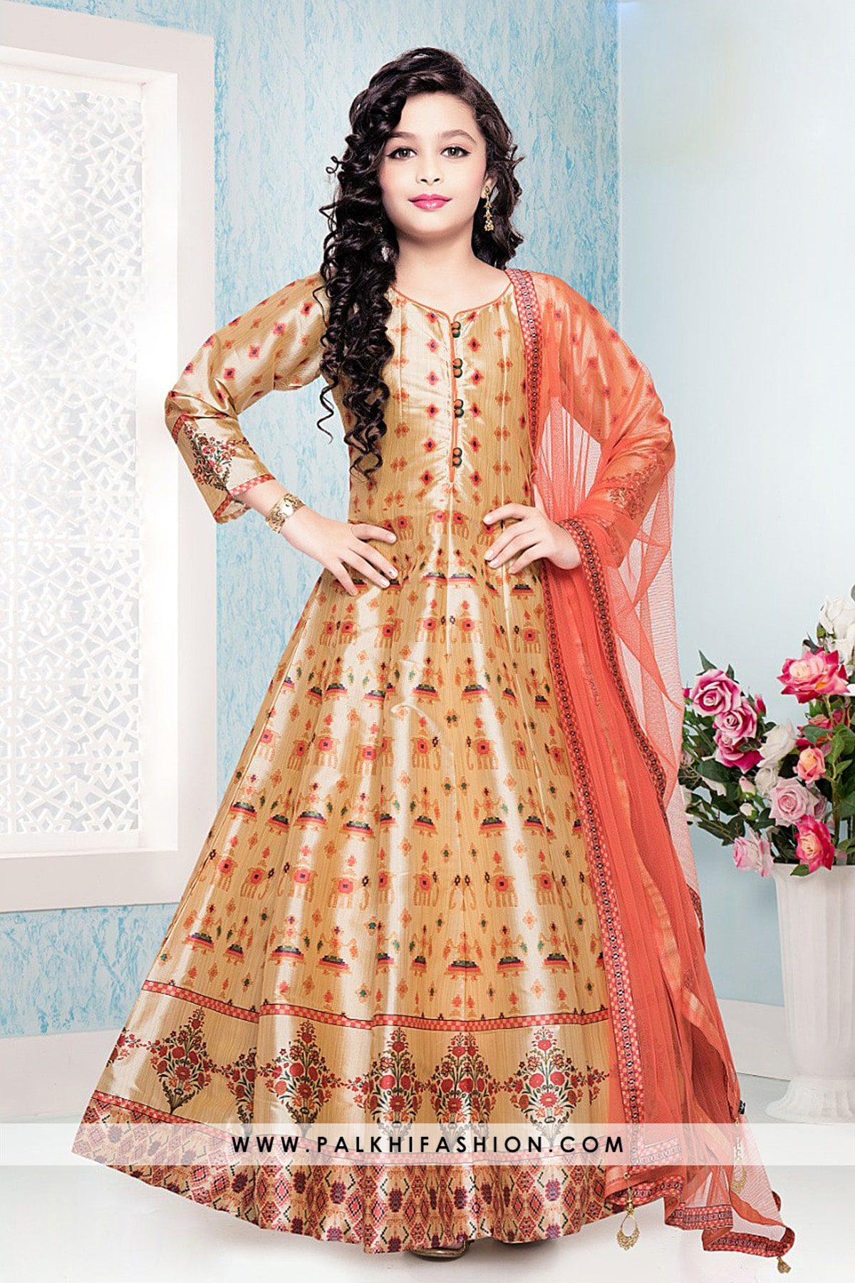 Attractive Multicolor Girls Patola Printed Salwar Kameez