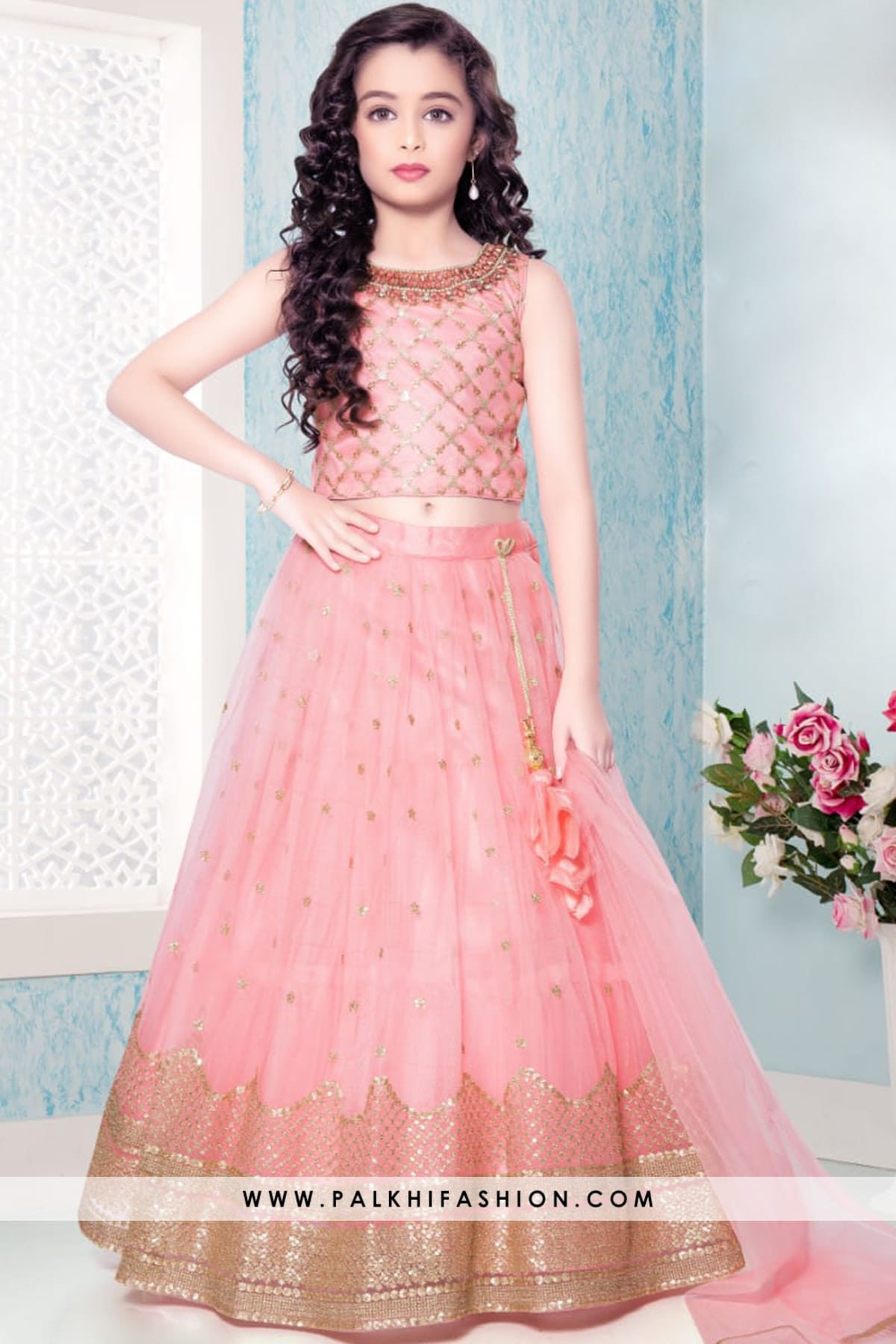 Pink Soft Net Girls Handwork Lehenga Set With Attractive Pattern