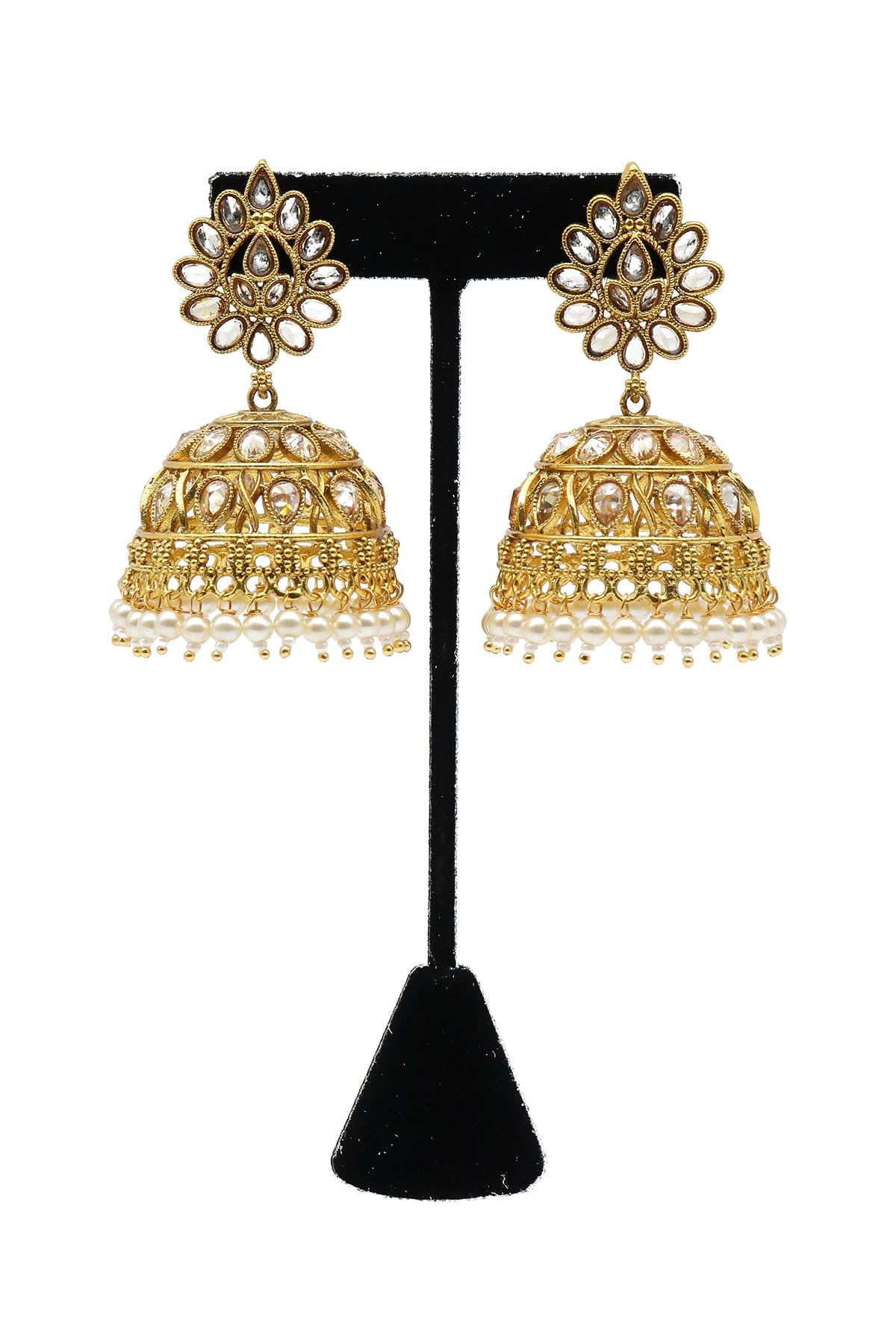 Stone Studded Jhumka Style Earrings With Artificial Pearls - E20-003