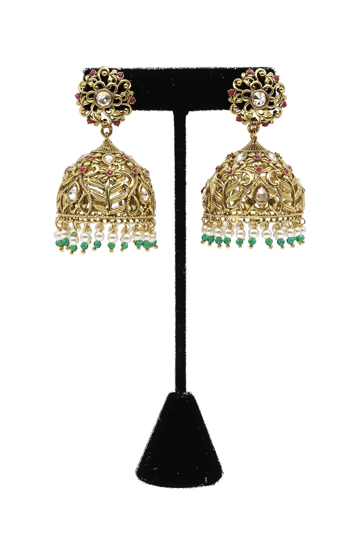 Stone Studded Jhumka Style Earrings With Artificial Pearls - E20-010