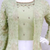 Stunning Light Green Pure Georgette Jacket Style Palazzo Suit