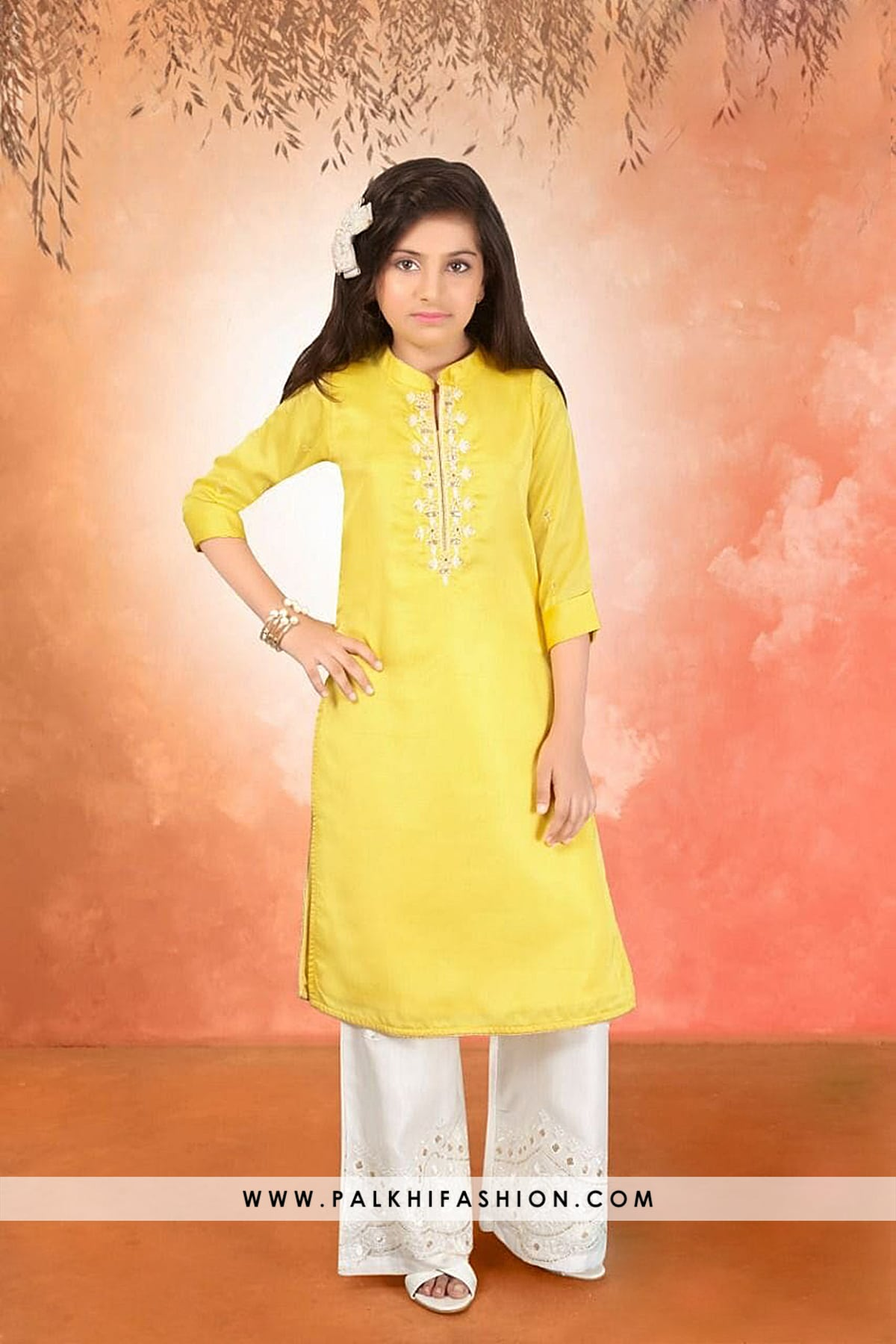 Elegant Light Yellow Soft Silk Girls Salwar Kameez-Palkhi Fashion