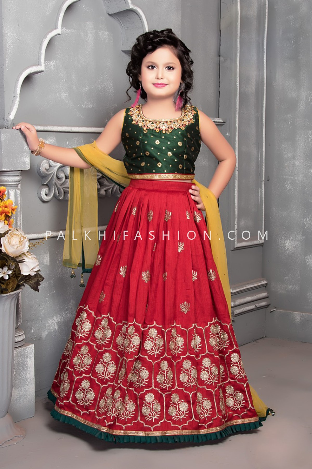 MaroonGreen Girls Lehenga Set With Appealing Work-Palkhi Fashion