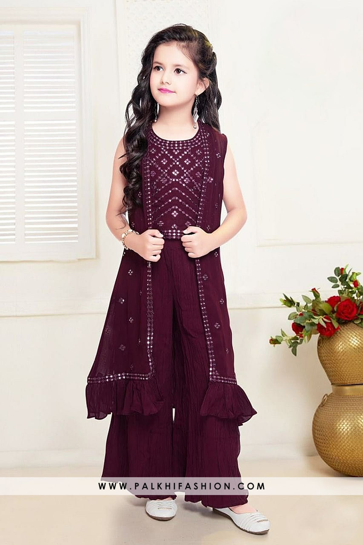 Stunning Jacket Style Girls Outfit With Beautiful Designs-Palkhi Fashion