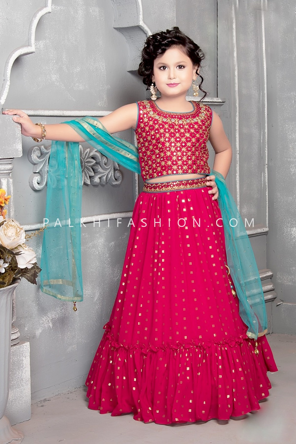 Rani Pink Girls Lehenga Set With Appealing Work-Palkhi Fashion