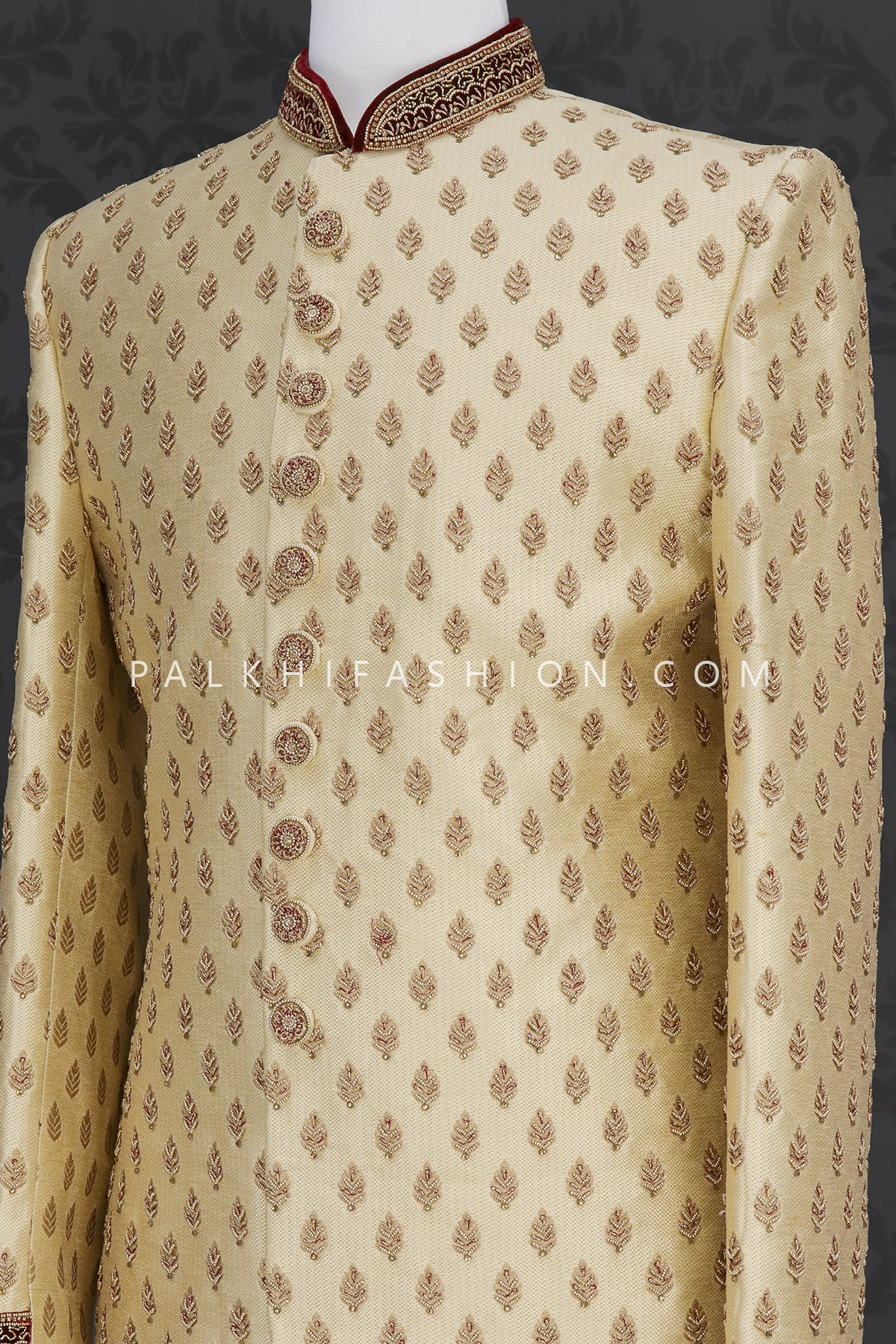 Beige Designer Silk Indo-Western With Handwork-Palkhi Fashion