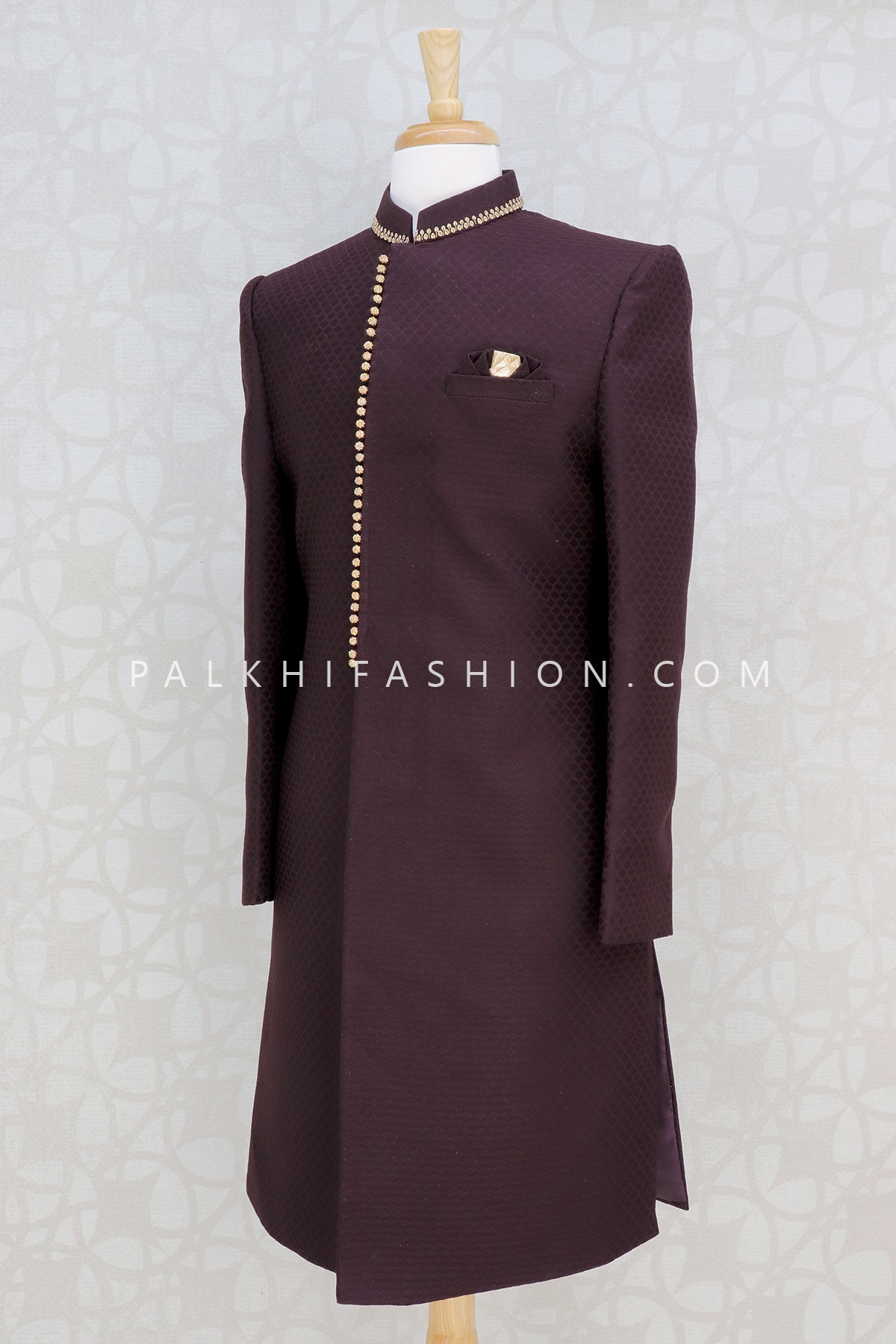 Wine Silk Indo-Western For Wedding Function-Palkhi Fashion