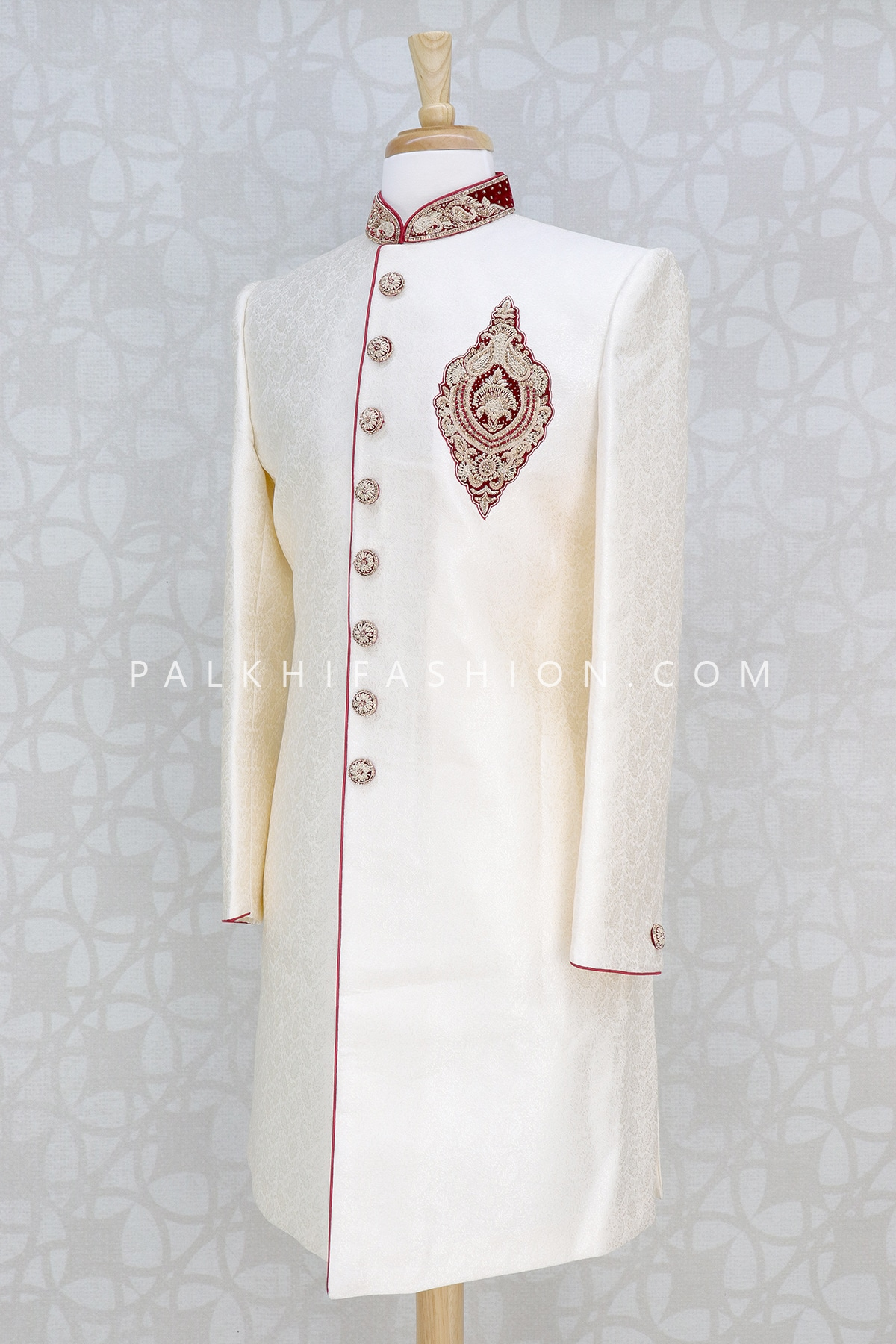 Off-white Silk Indo-Western With Appealing Work-Palkhi Fashion (2)